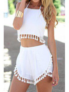 Spaghetti Strap Solid Color Fringe Tank Top + Shorts - White Xl