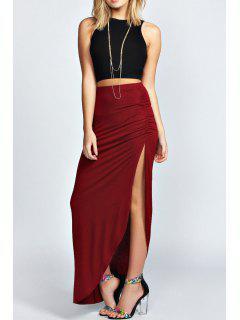 Sleeveless Black Crop Top + Side Slit Skirt Twinset - Wine Red Xl