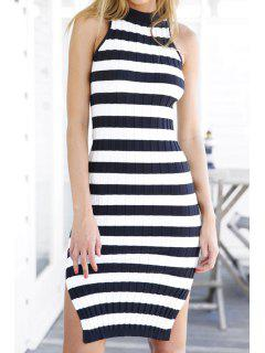 Sleeveless Striped Side Slit Sweater Dress - Blue And White