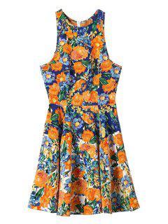 Orange Floral Print Sleeveless Dress - S
