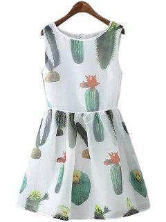 Cactus Print A-Line Sundress - White S