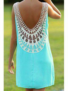 Crochet Spliced Backless Sundress - Green Xl