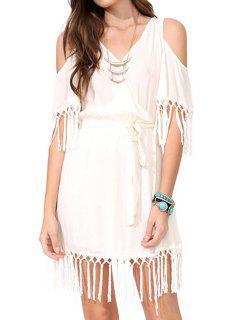 Off-The-Shoulder Fringe Splicing Short Sleeve Dress - Off-white L