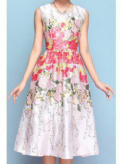 Floral Print A-Line Sleeveless Midi Dress - White M