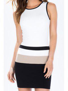 White Black Sleeveless Backless Dress - White M