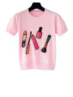 Lipstick Pattern Short Sleeve Knit T-Shirt - Pink