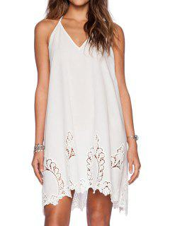 Spaghetti Strap Backless Openwork Solid Color Dress - White M