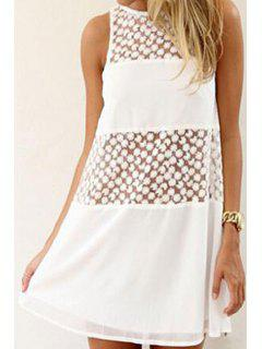 Floral Embroidery Spliced Sleeveless Dress - White Xl