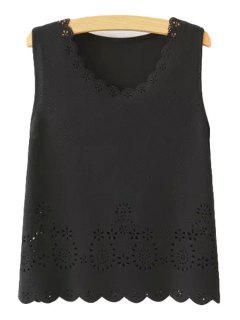 Scoop Neck Hollow Out Tank Top - Black S