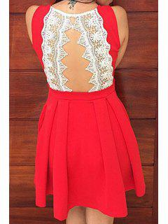 Round Neck A-Line Ruffled Lace Spliced Dress - Red S