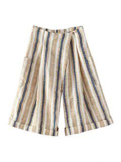 Striped Wide Leg Large Pockets Capri Pants - Khaki