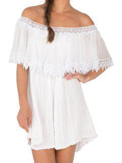 Slash Neck A-Line Ruffled Lace Spliced Dress - White S