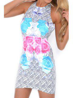 Geometric Floral Print Backless Sleeveless Dress - Light Blue L