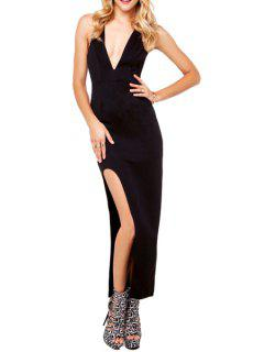 Backless Cross High Slit Sleeveless Maxi Dress - Black M