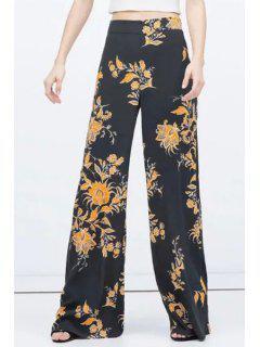 Vintage Floral Print Wide Leg Pants - Black L