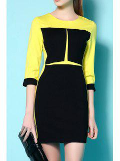 Color Block 3/4 Sleeve Slimming Dress - Yellow S