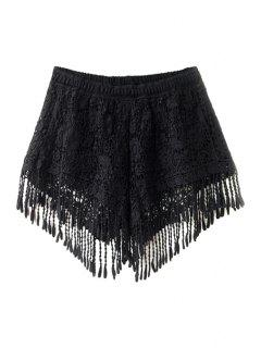 Solid Color Fringe Lace Shorts - Black