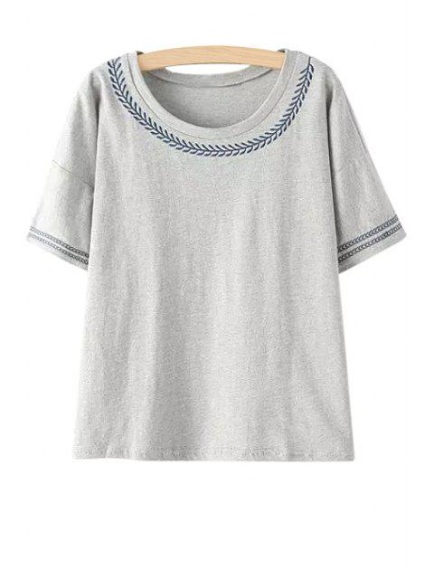 online Embroidery Short Sleeves T-Shirt - GRAY ONE SIZE(FIT SIZE XS TO M) Mobile