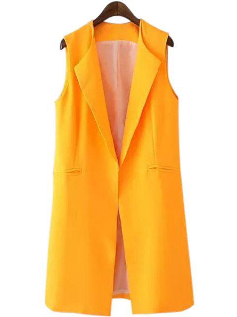 outfits Turn-Down Collar Yellow Sleeveless Waistcoat - YELLOW L Mobile