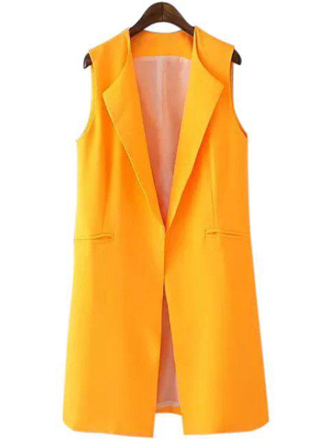 new Turn-Down Collar Yellow Sleeveless Waistcoat - YELLOW S Mobile