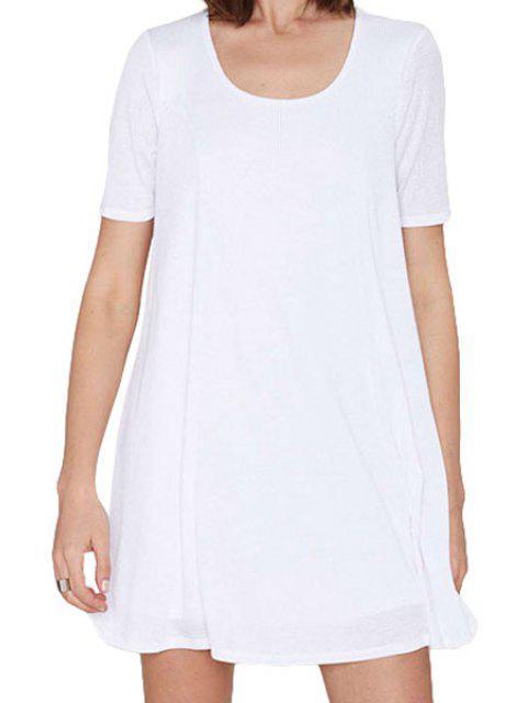 Blanc Scoop Neck robe à manches courtes - Blanc 2XL Mobile