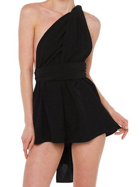 ladies Solid Color Loose-Fitting Romper - BLACK S Mobile