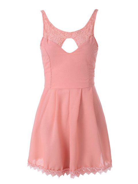online Lace Spliced Sleeveless A-Line Dress - PINK M Mobile