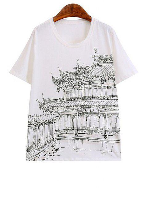 Building Print Short Sleeve T-Shirt - 白 L Mobile