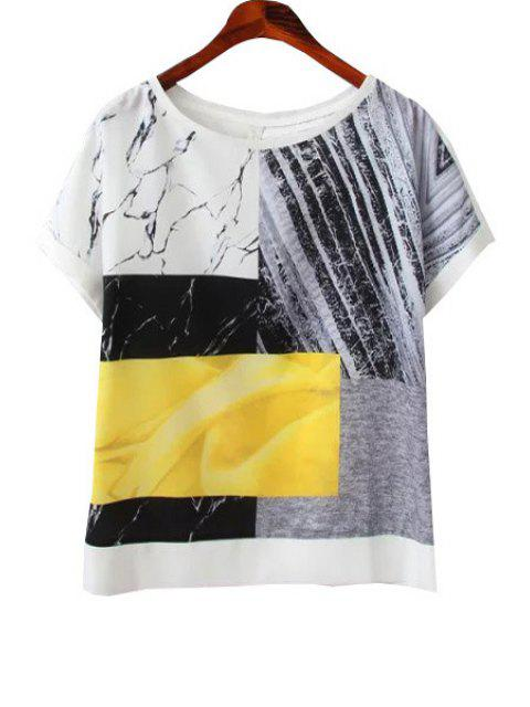 shops Print Spliced Short Sleeves T-Shirt - WHITE S Mobile