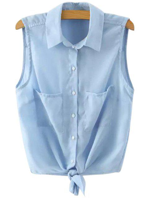 sale Solid Color Sleeveless Self-Tie Shirt - BLUE M Mobile