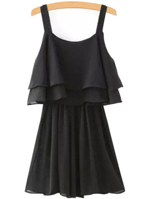 online Solid Color Layered Chiffon Dress - BLACK M Mobile