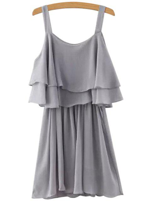 outfits Solid Color Layered Chiffon Dress -   Mobile