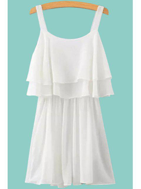 fashion Solid Color Layered Chiffon Dress - WHITE M Mobile