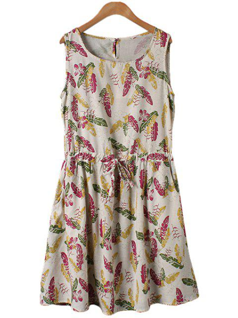 trendy Leaves Print Tie-Up Sleeveless Dress - FLAXEN M Mobile