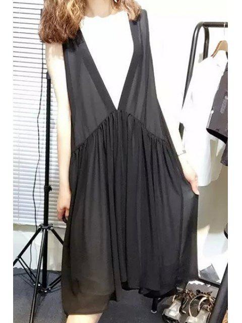 womens Color Block V-Neck Sleeveless Dress -   Mobile