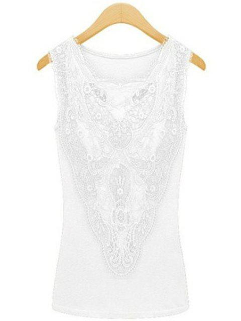 hot Lace Spliced Solid Color Tank Top - WHITE M Mobile