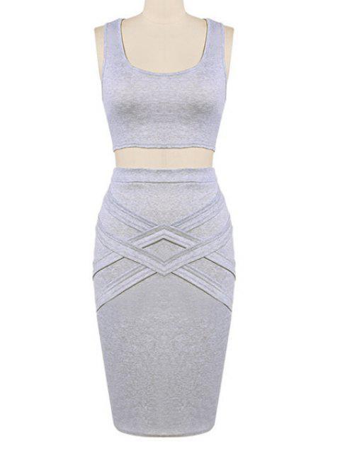 sale Crop Top and Solid Color Pencil Skirt Suit - GRAY L Mobile