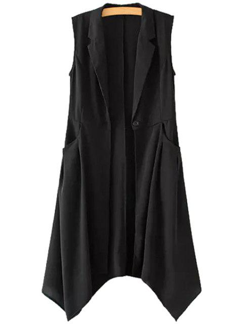 sale Solid Color One Button Asymmetrical Sleeveless Waistcoat - BLACK L Mobile