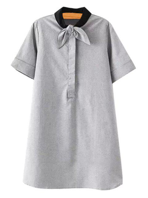 shop Solid Color Self-Tie Short Sleeve Dress - GRAY S Mobile