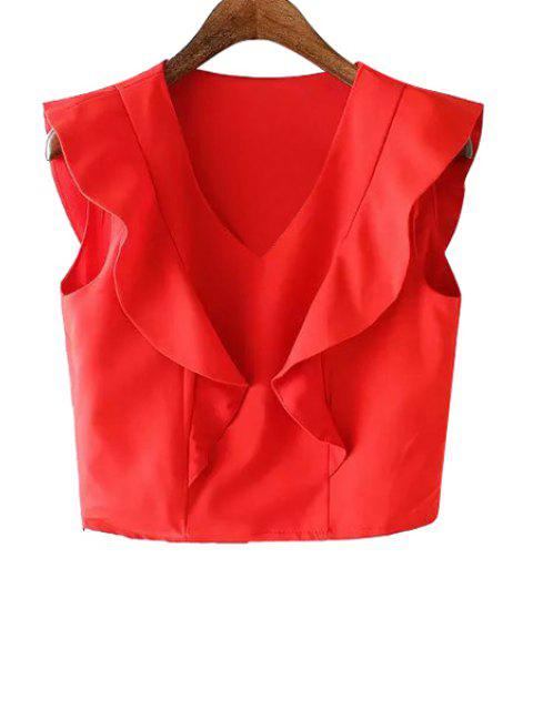 unique Ruffles Spliced V-Neck Tank Top - RED M Mobile