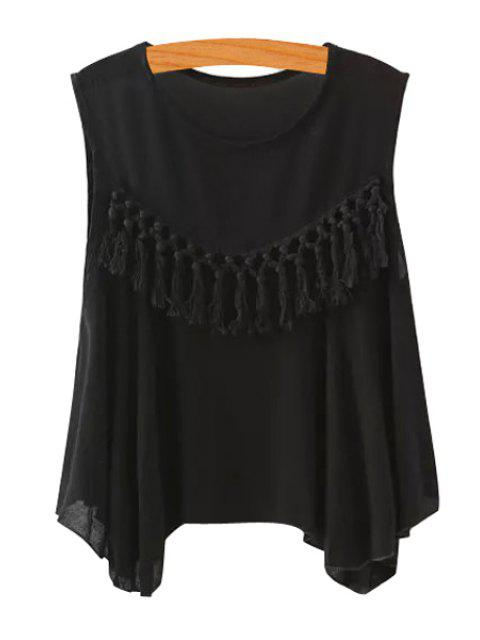 outfits Solid Color Tassel Splicing Sleeveless Tank Top - BLACK M Mobile