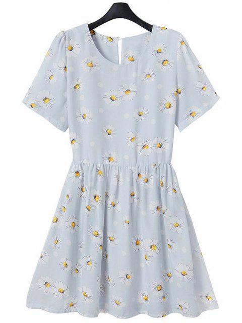new Full Flower Print Short Sleeve Flare Dress - LIGHT BLUE M Mobile