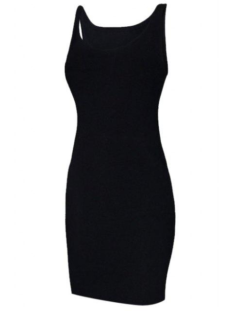 ladies Solid Color Sleeveless Bodycon Sundress - BLACK S Mobile