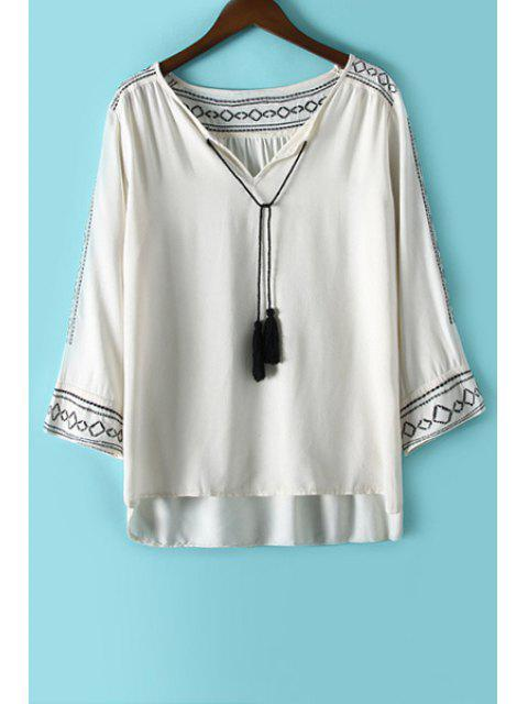 affordable Argyle Embroidery Tassel Long Sleeve Shirt - WHITE L Mobile