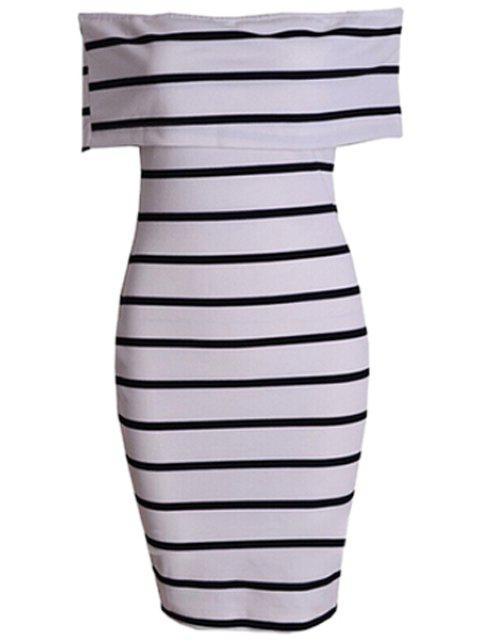 new Stripe Slash Neck Bodycon Dress - STRIPE S Mobile