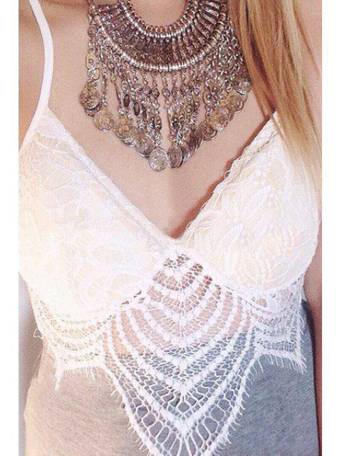 affordable Lace White Spaghetti Straps Crop Top - WHITE S Mobile