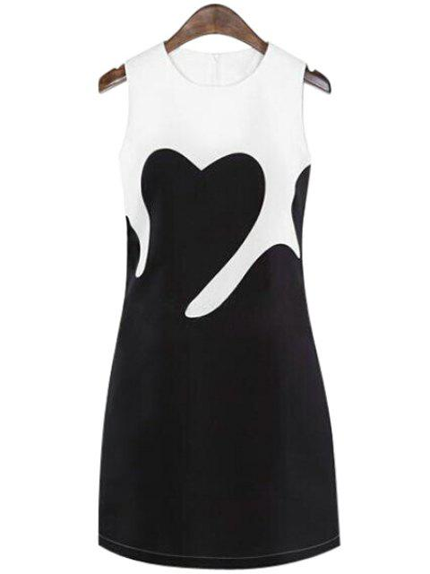 affordable Color Block Sleeveless Dress - WHITE AND BLACK XL Mobile