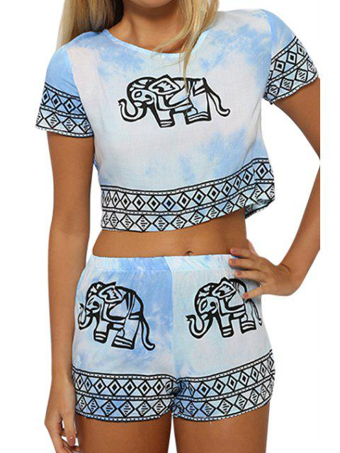 trendy Short Sleeve Crop Top and Elephant Print Shorts Suit - LIGHT BLUE L Mobile