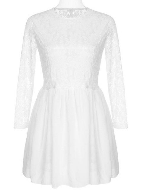 online See-Through Lace Splicing Long Sleeve Dress - WHITE M Mobile