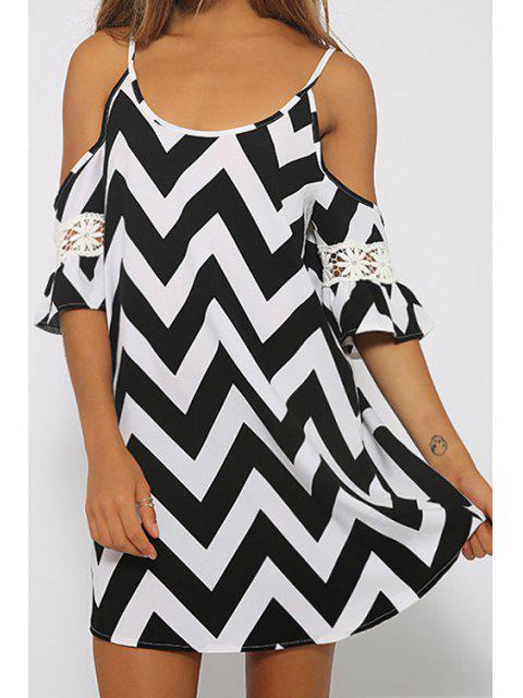 lady Spaghetti Strap Zig Zag Lace Splicing Dress - BLACK L Mobile